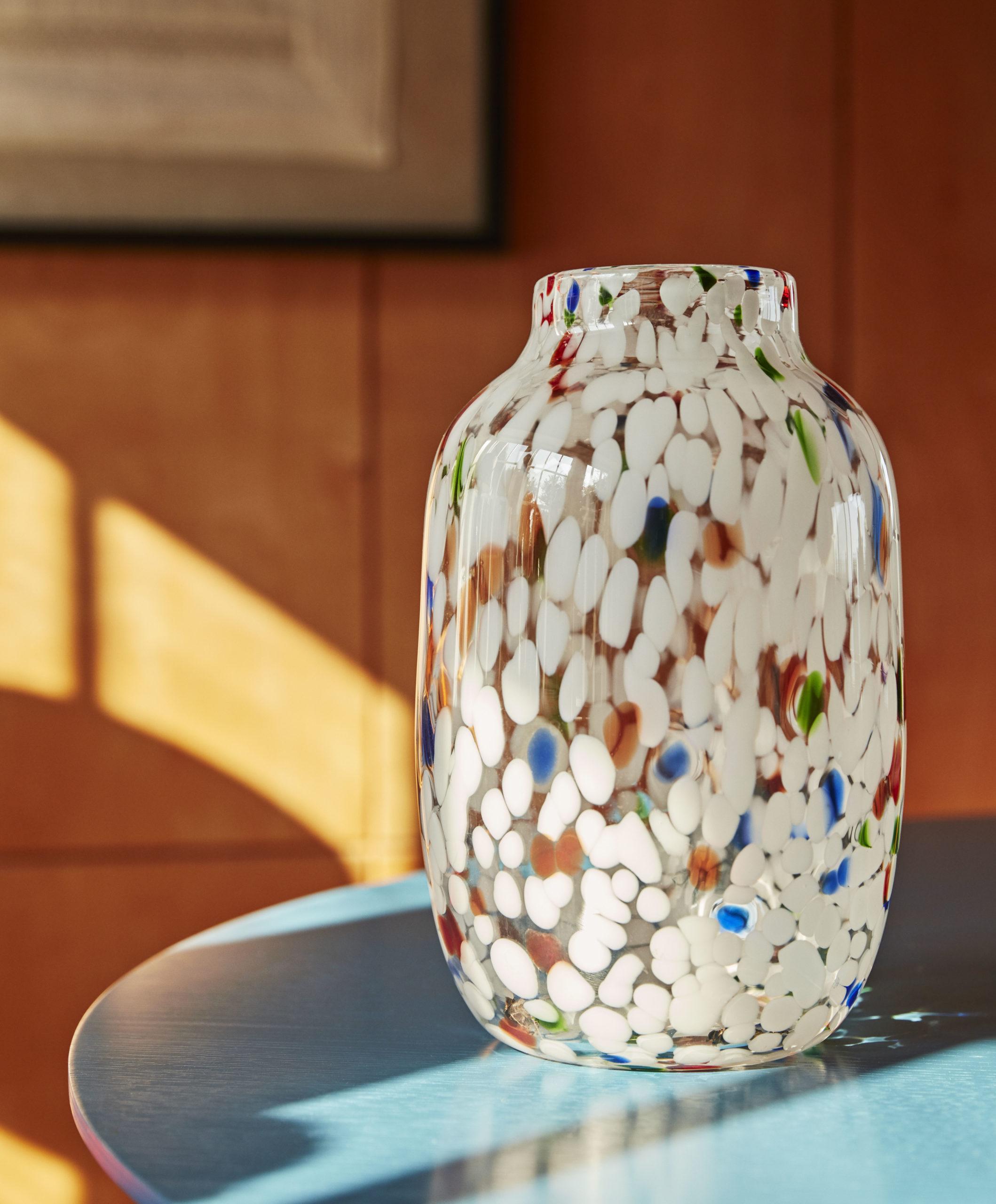 Splash Vase Round White Dot (Large)